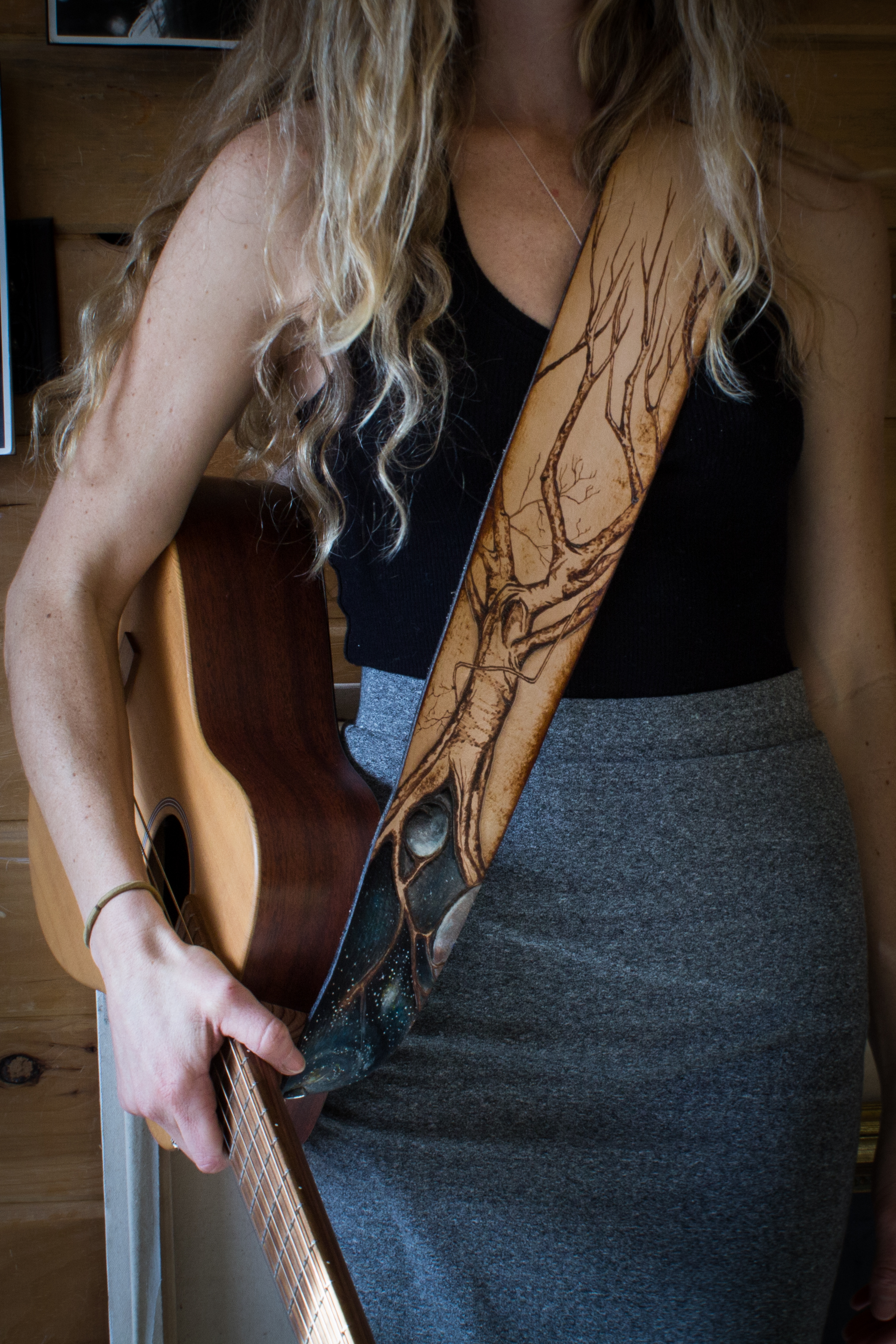 Celestial Tree Leather Guitar Strap-9