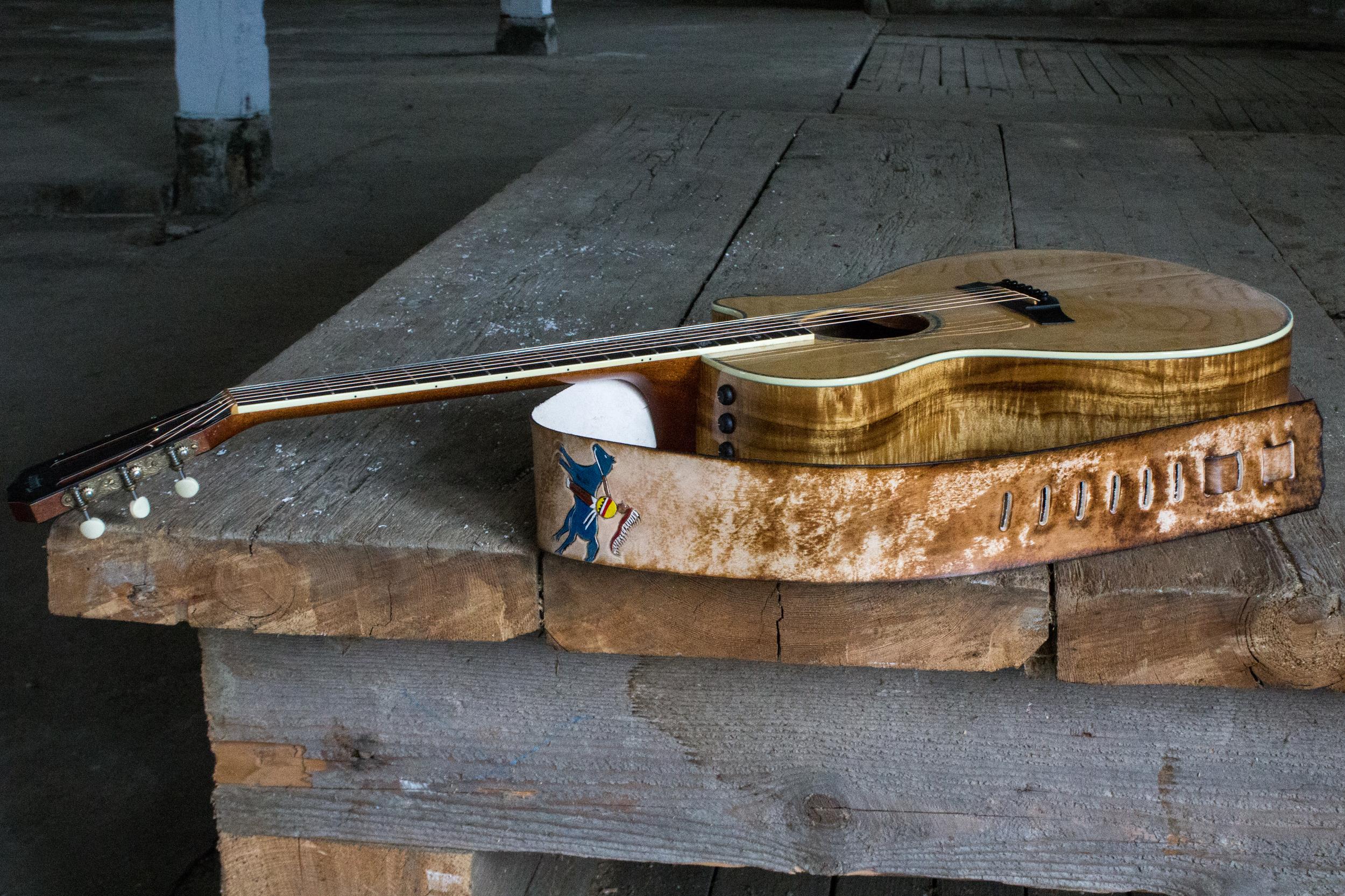 native american art custom leather guitar strap-3