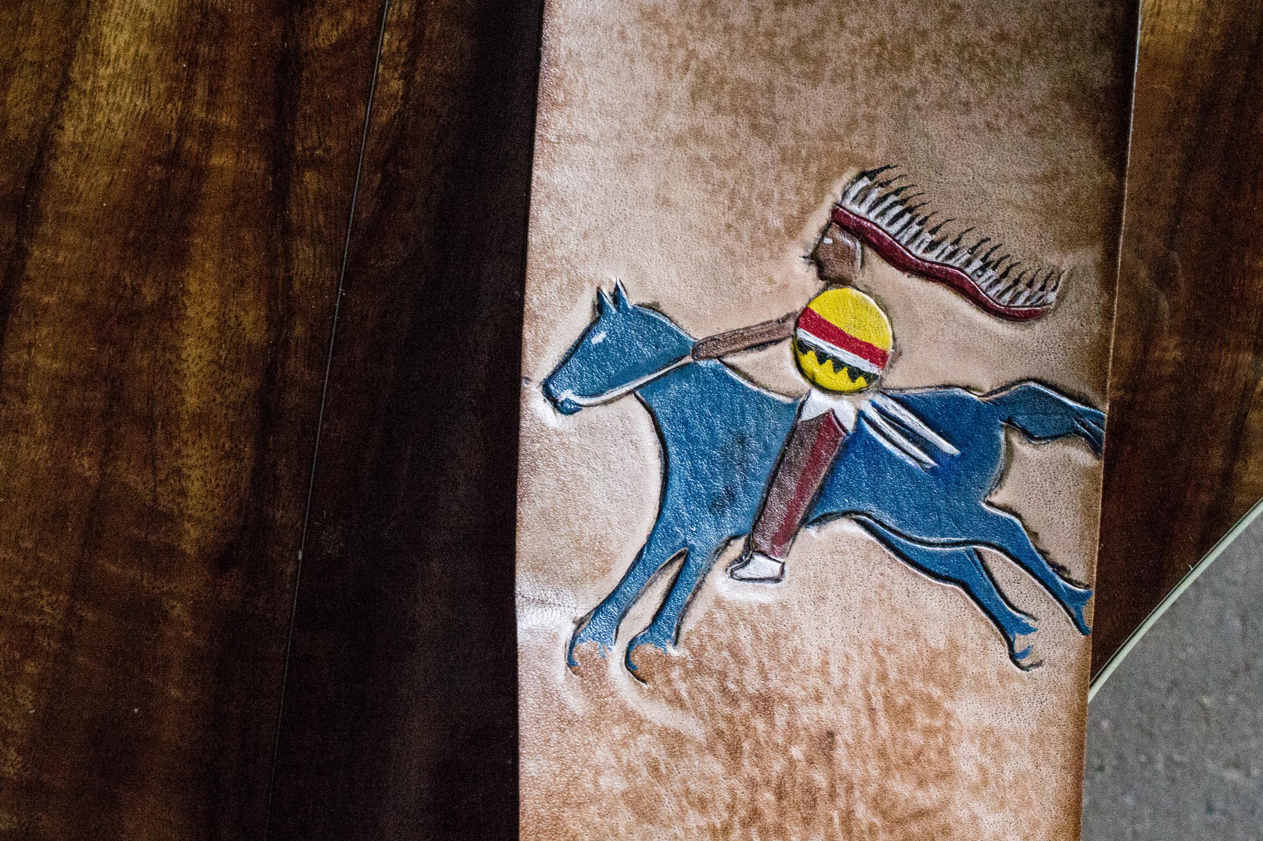native american art custom leather guitar strap-4