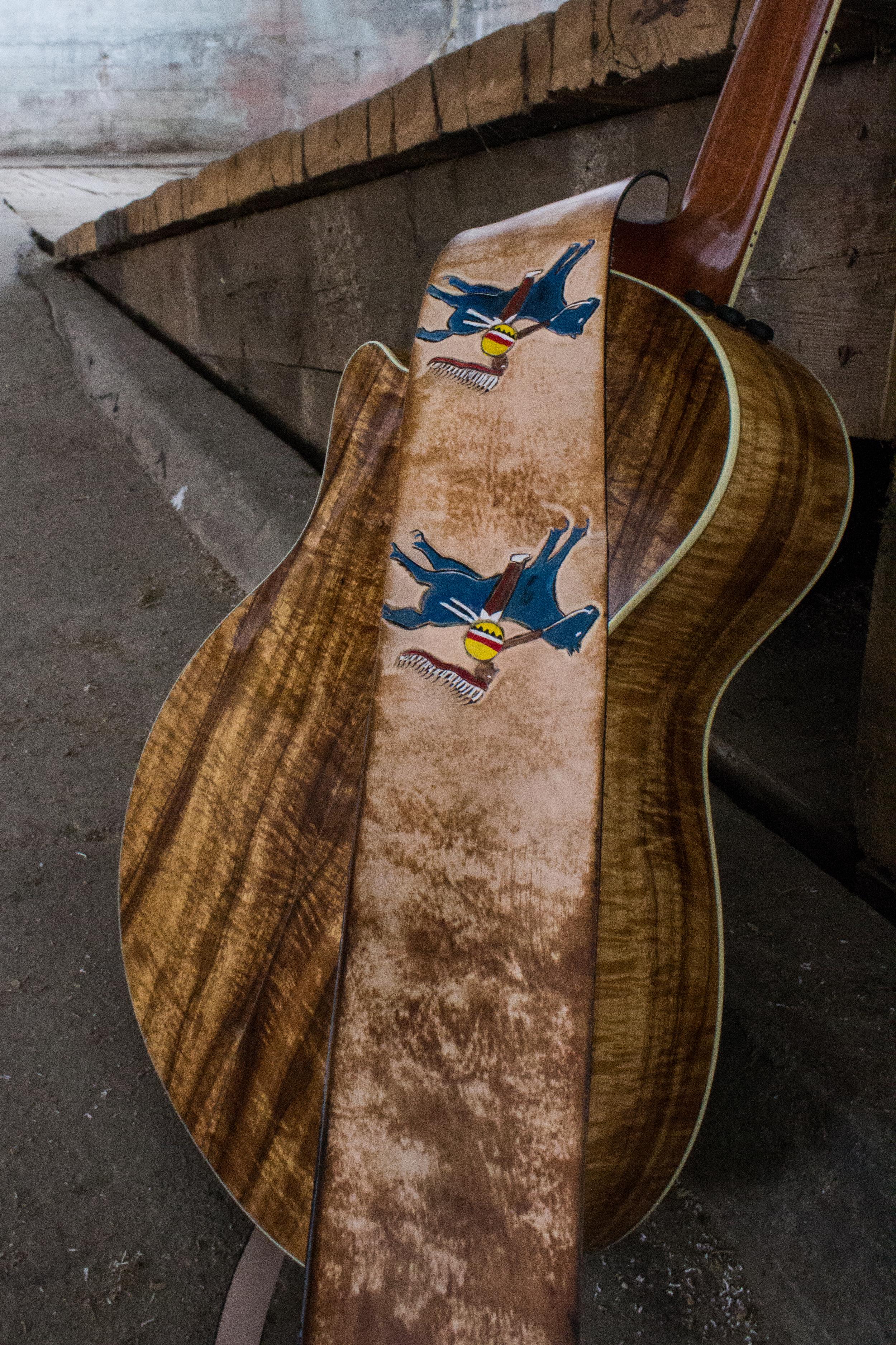 native american art custom leather guitar strap