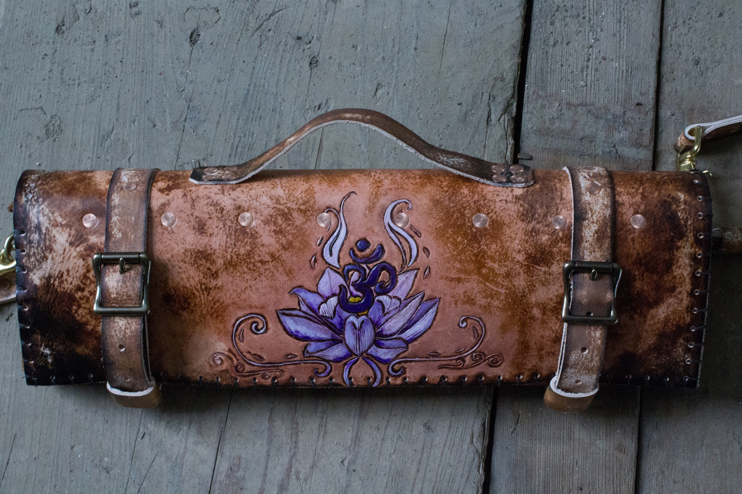 Om and Lotus Leather Knife Roll-20