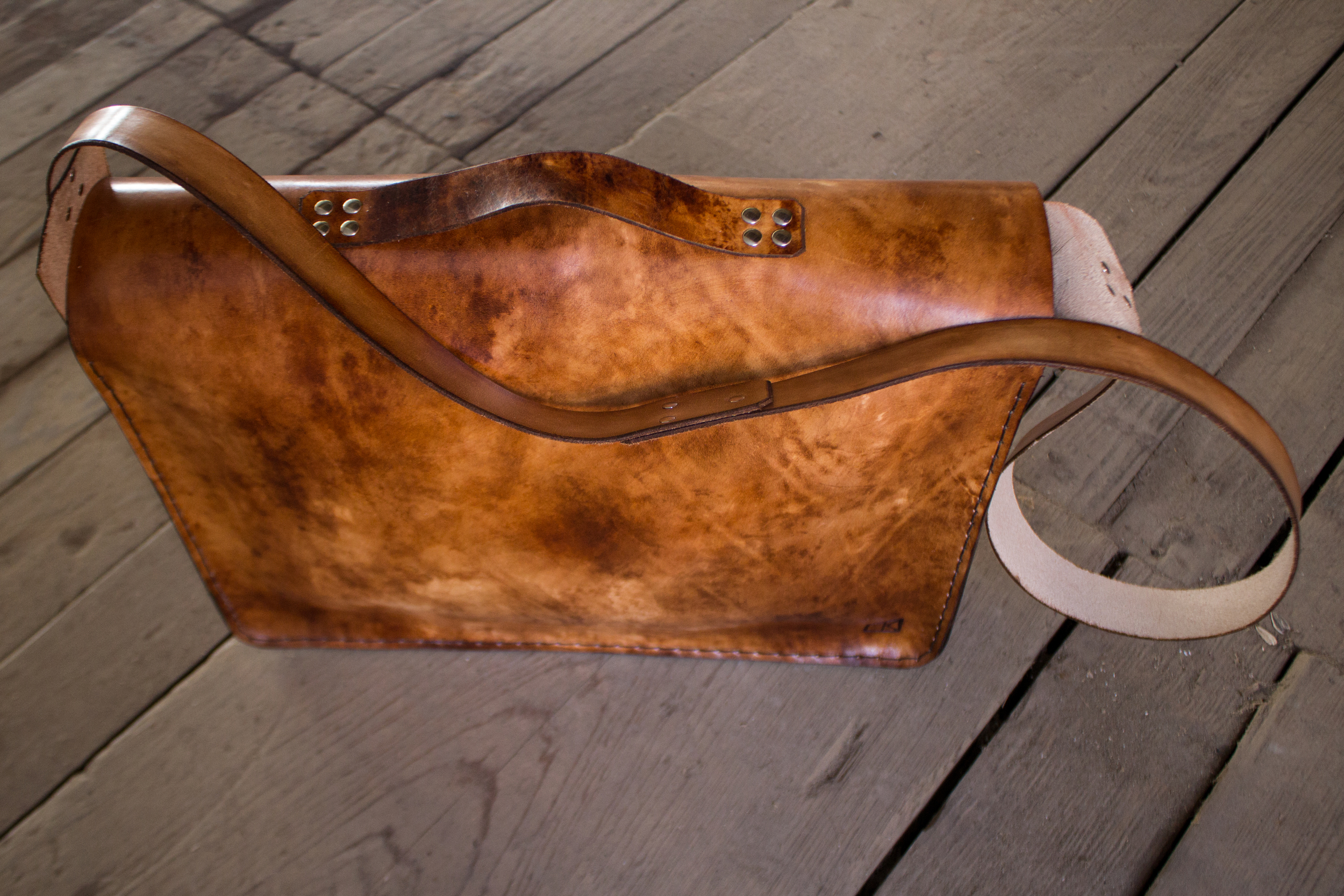 Custom leather messenger bag another take on butchers roll-12