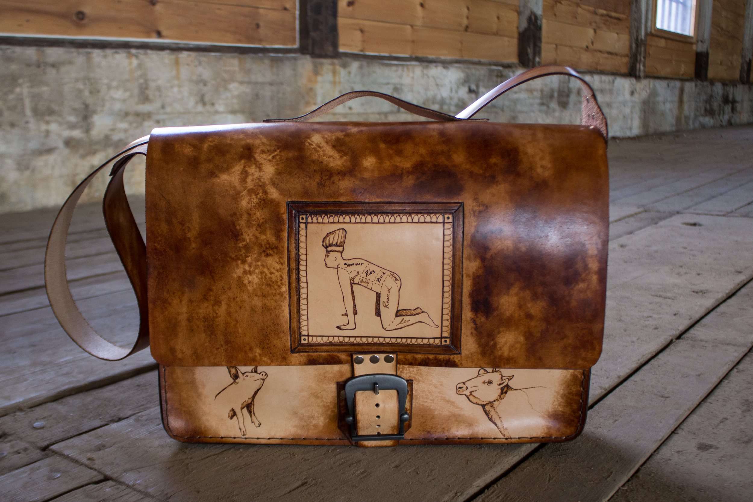 Custom leather messenger bag another take on butchers roll-14