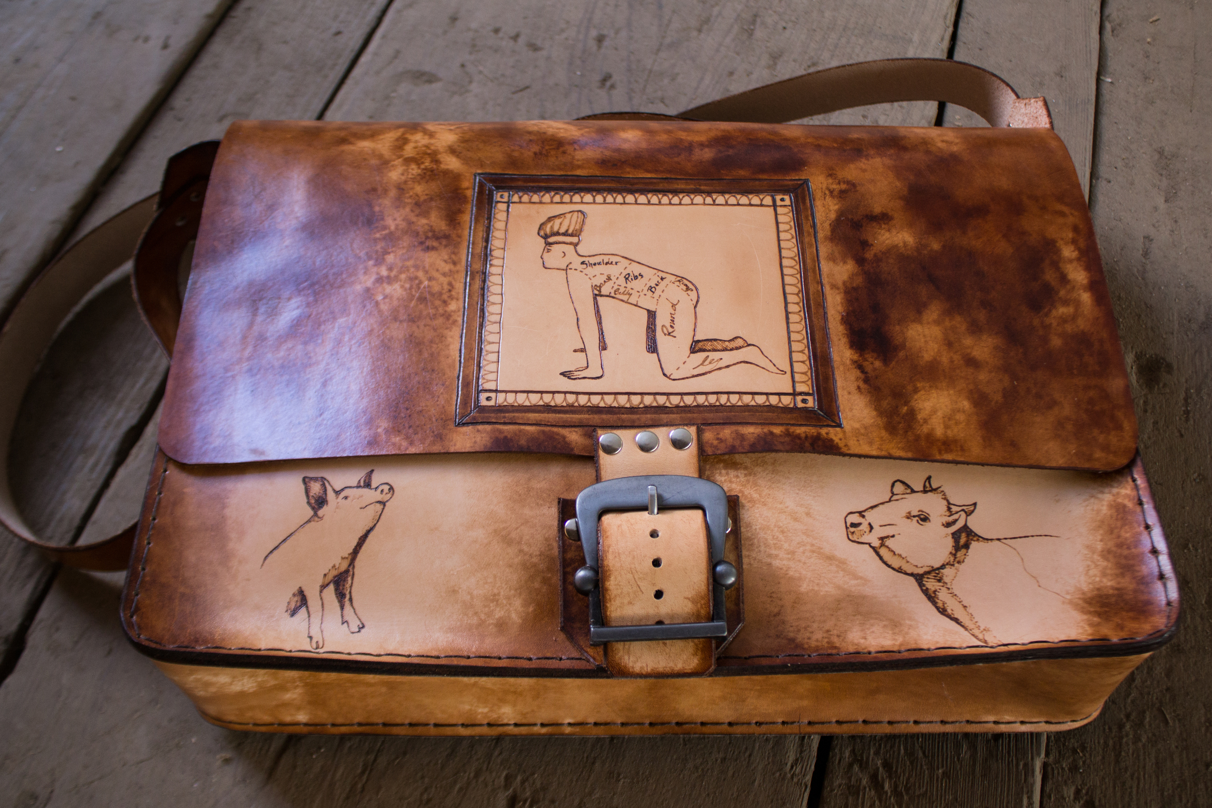 Custom leather messenger bag another take on butchers roll-15