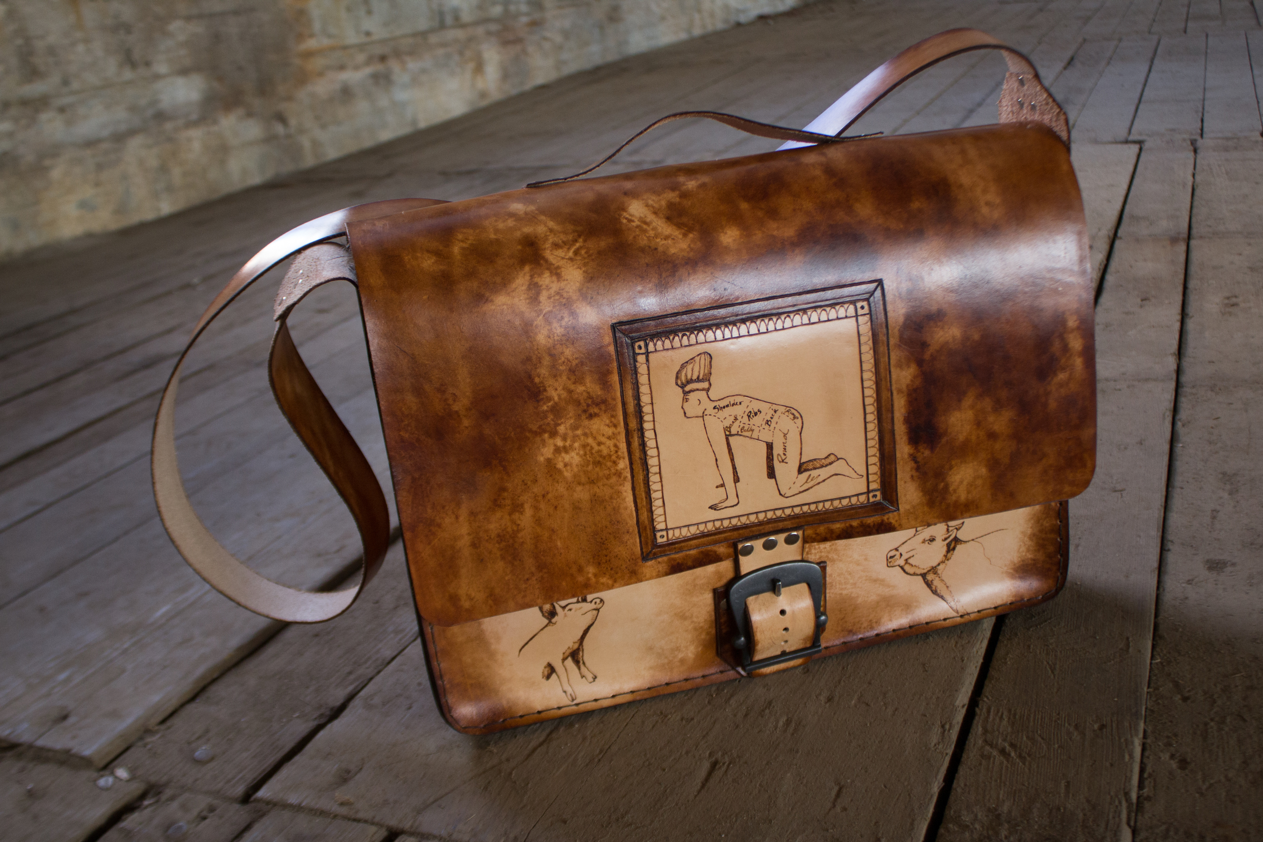 Custom leather messenger bag another take on butchers roll-9