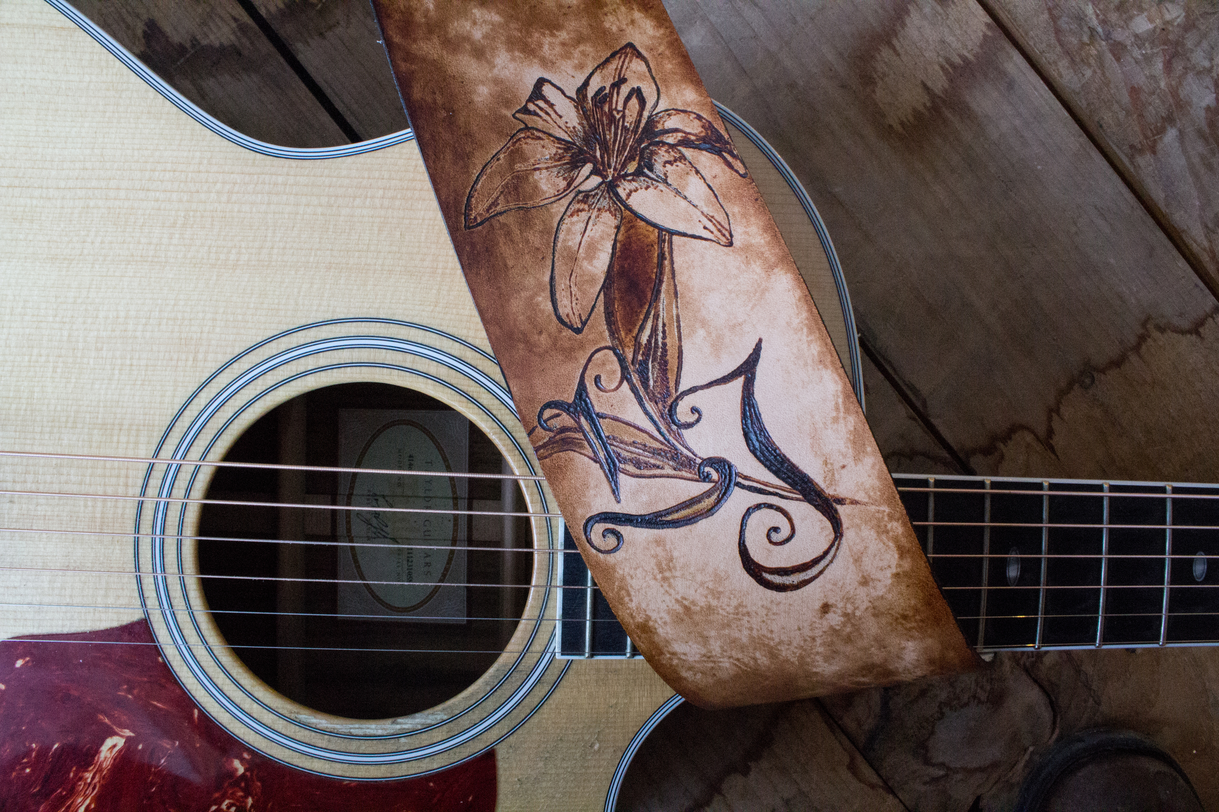 lily and initals guitar strap-4