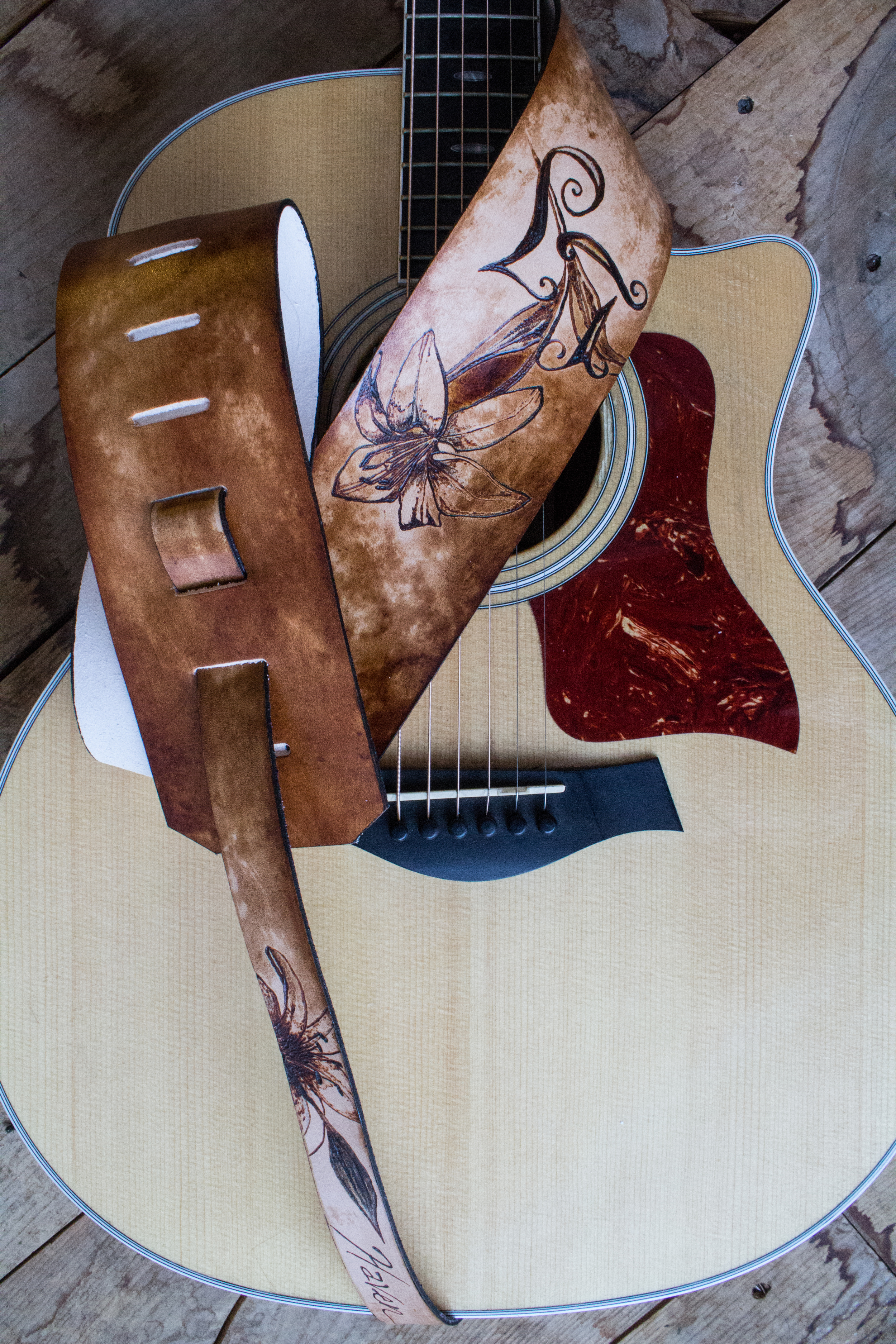 lily and initals guitar strap-5