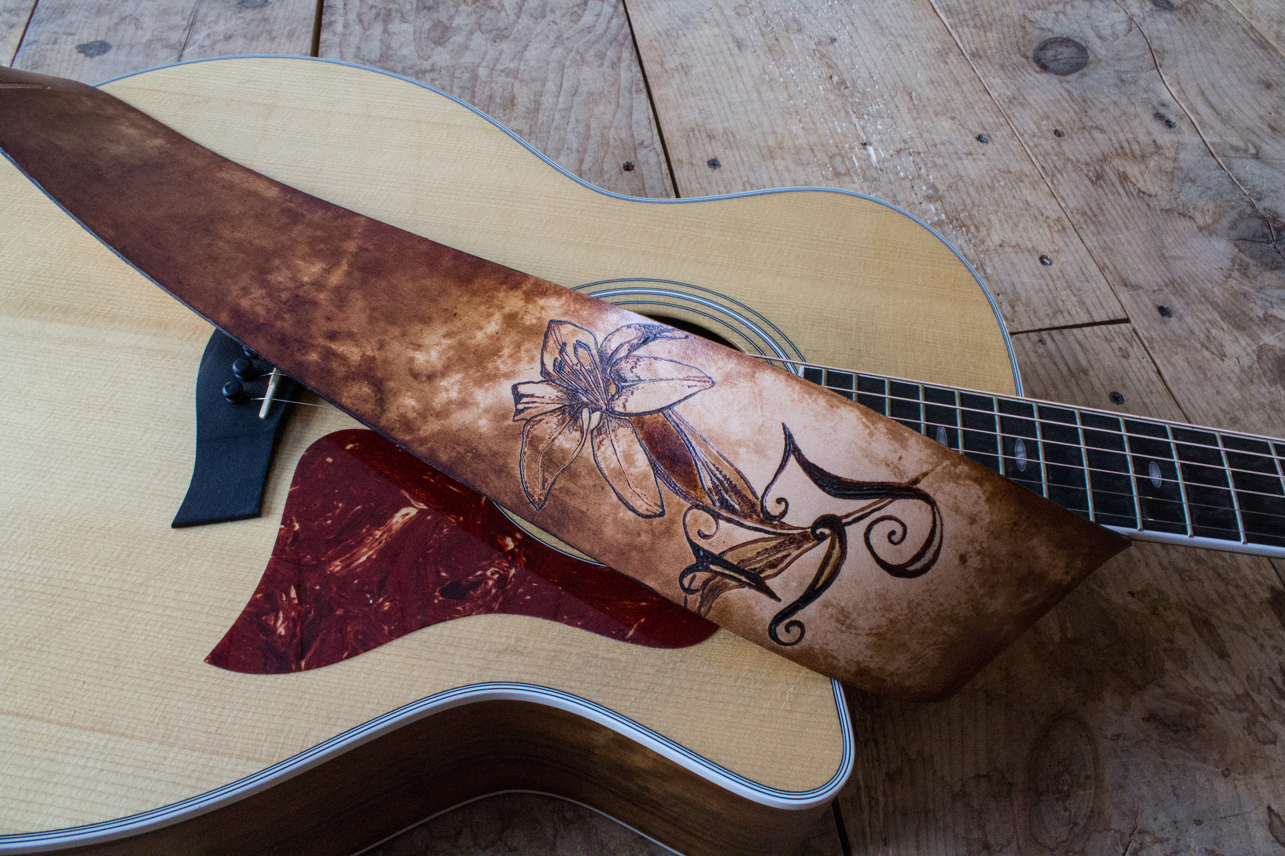lily and initals guitar strap