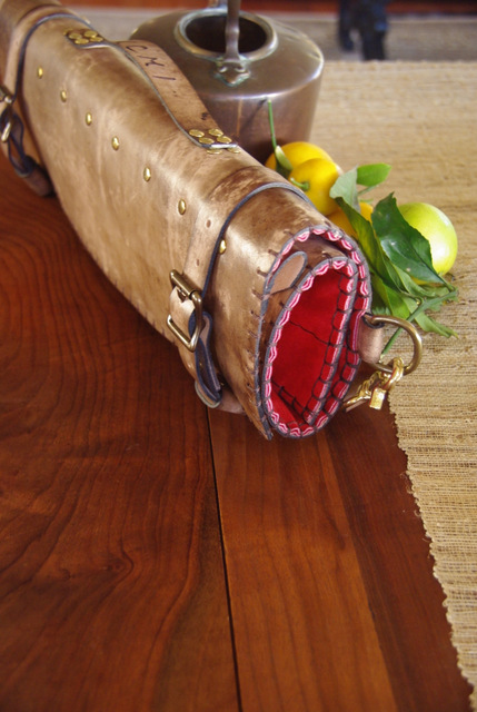 grey and red knife roll
