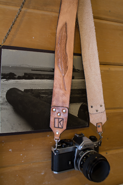 leather feather suspender style camera strap-2