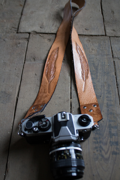 leather feather suspender style camera strap-4