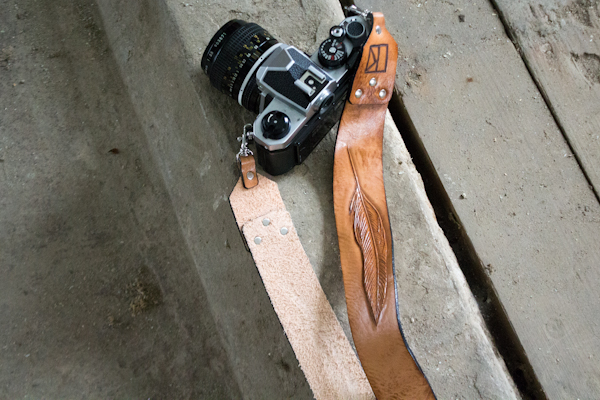 leather feather suspender style camera strap-7