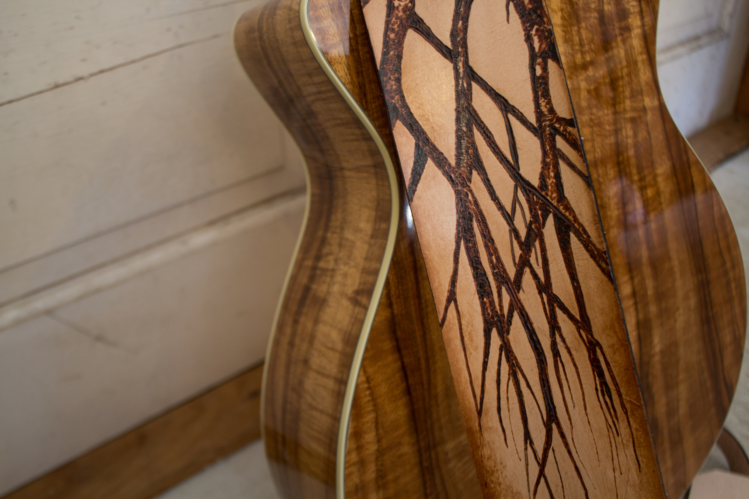Leather guitar strap with tree pyrography-2