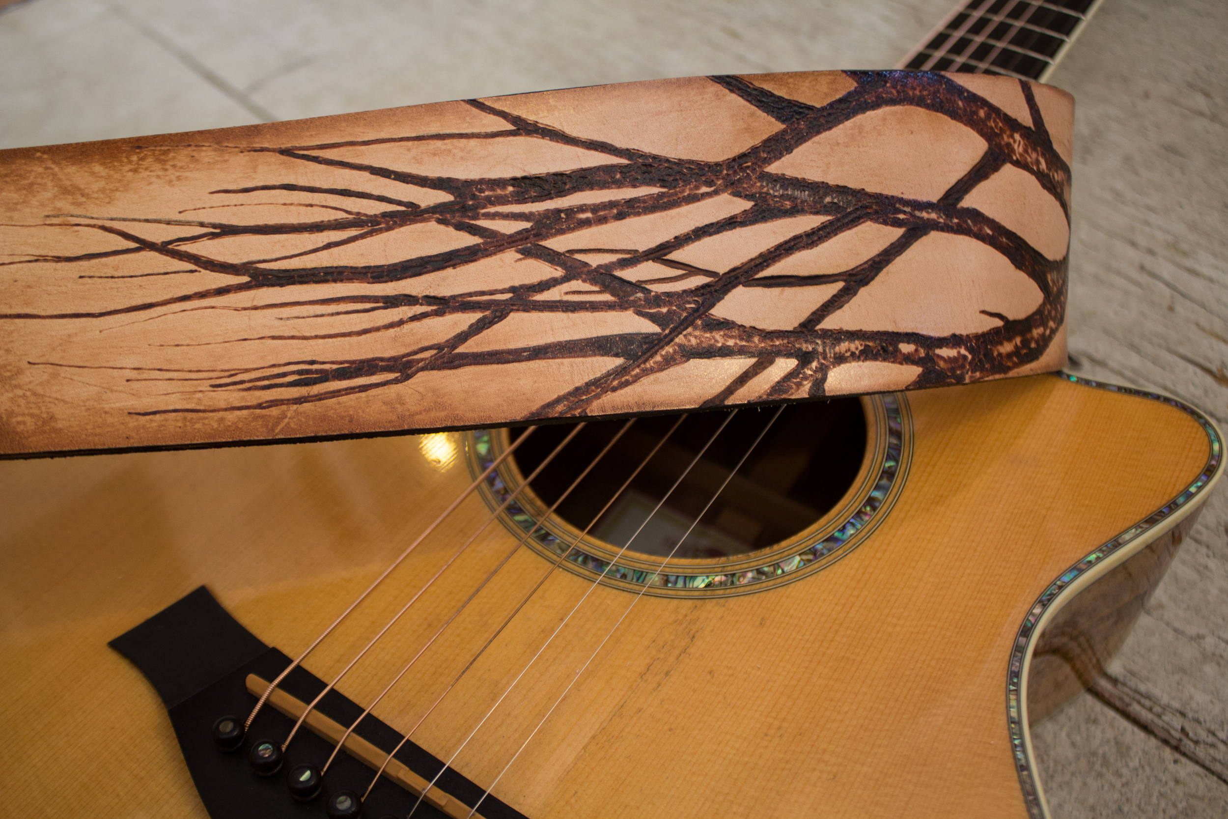 Leather guitar strap with tree pyrography-6