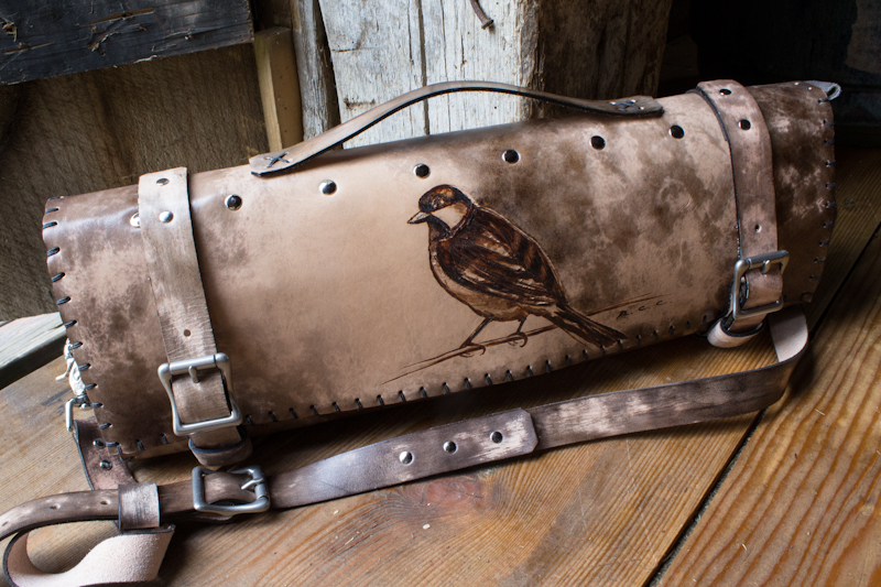 Bird leather chef knife roll | Linny Kenney