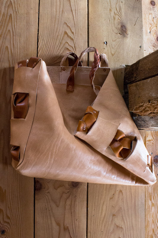 floppy natural leather tote