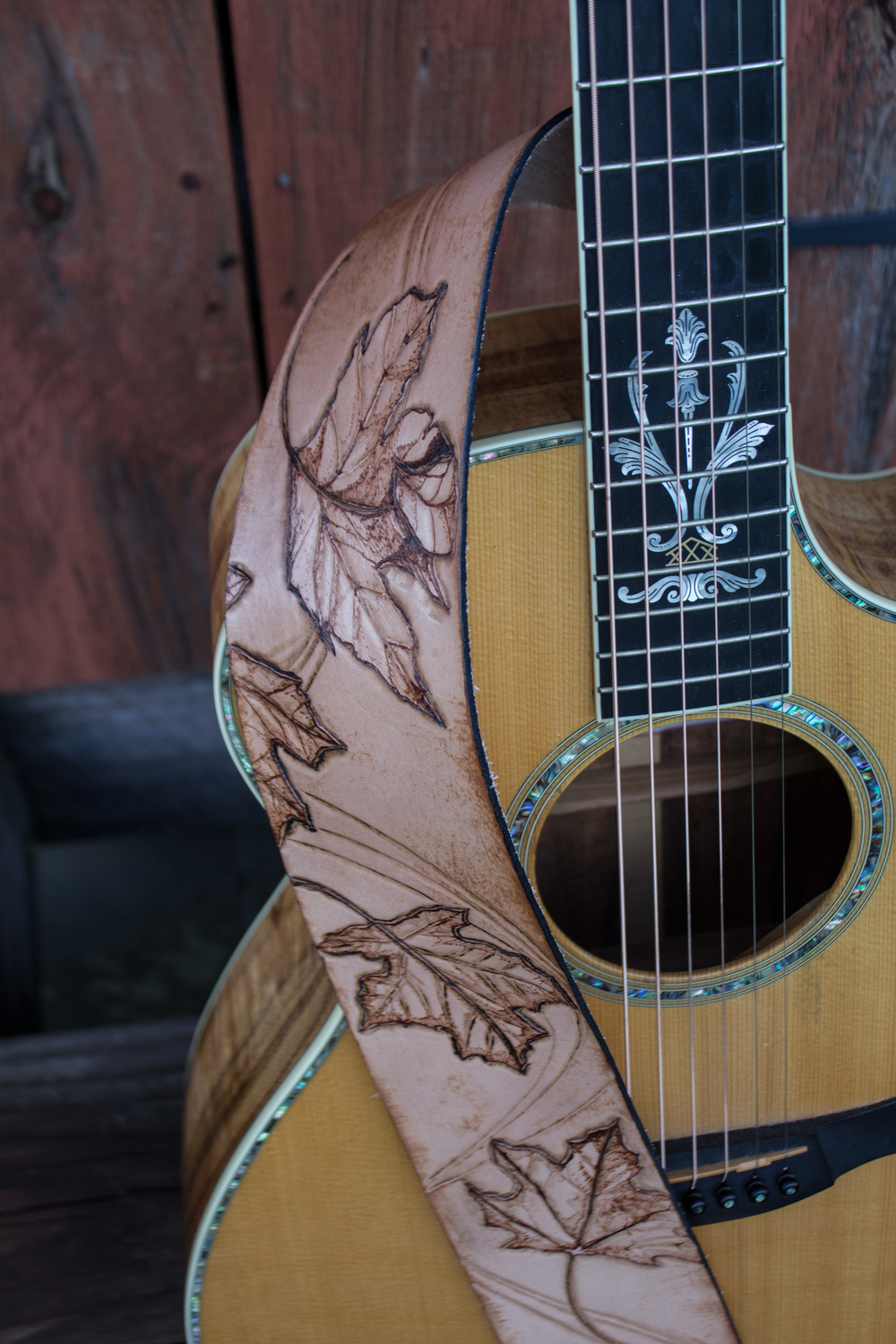 custom guitar strap Burnt maple leaves_-4.jpg