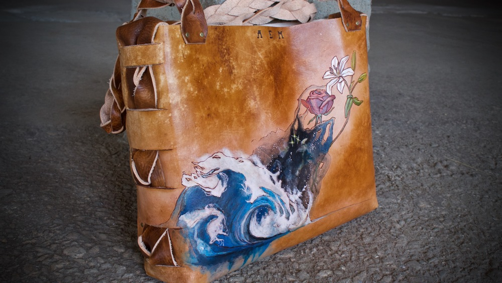 wave space flowers leather tote2.jpg