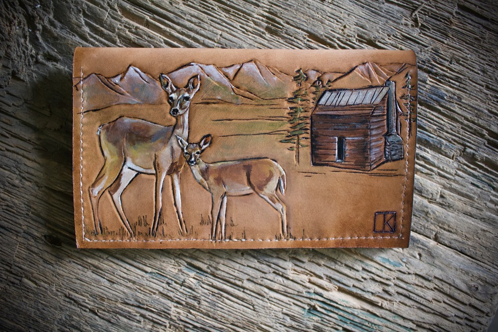 leather clutch wallet with deer3.jpg