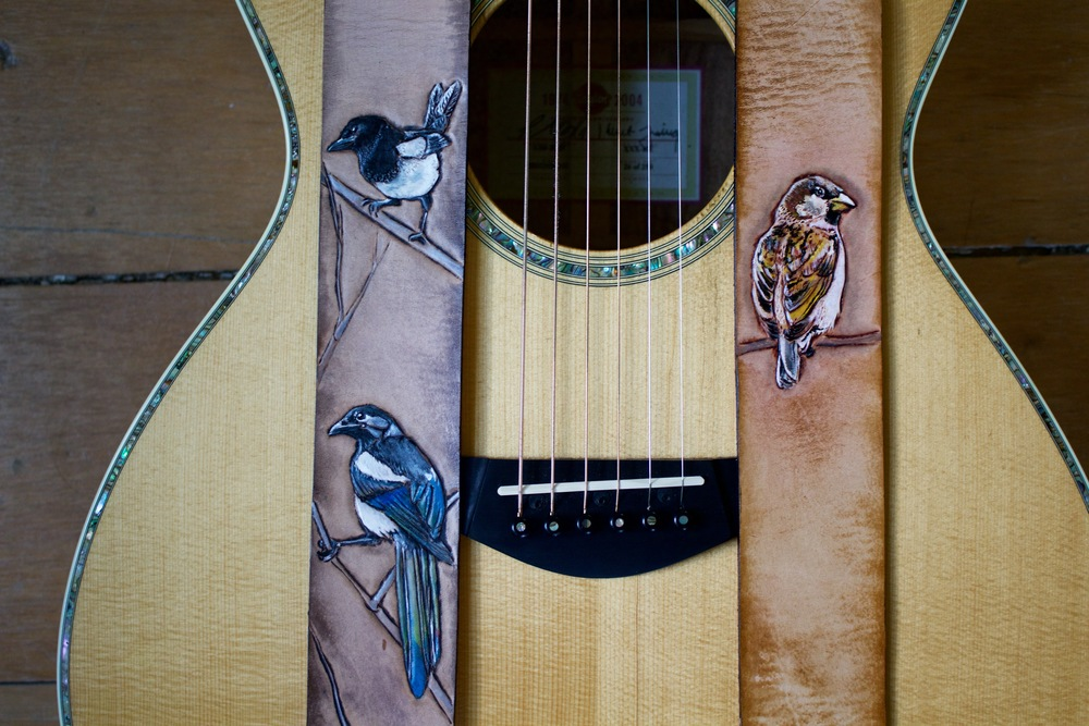 Eurasian Magpie and Sparrow guitar straps 1.jpg