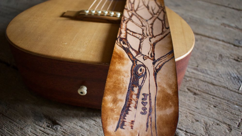 Tree and Aspen Leaves Guitar Strap  4.jpg