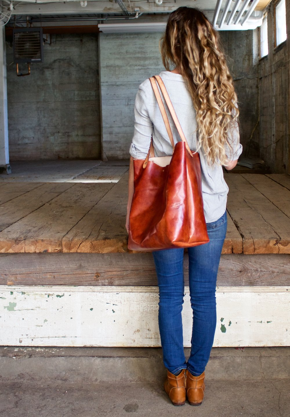 leather tote in cognac