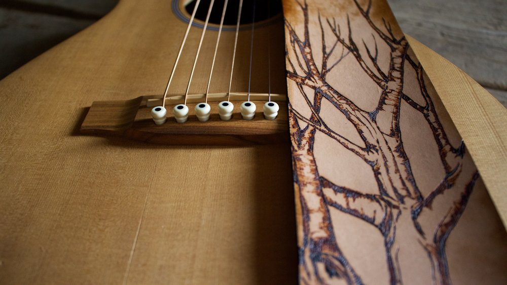 Tree and Aspen Leaves Guitar Strap  5.jpg