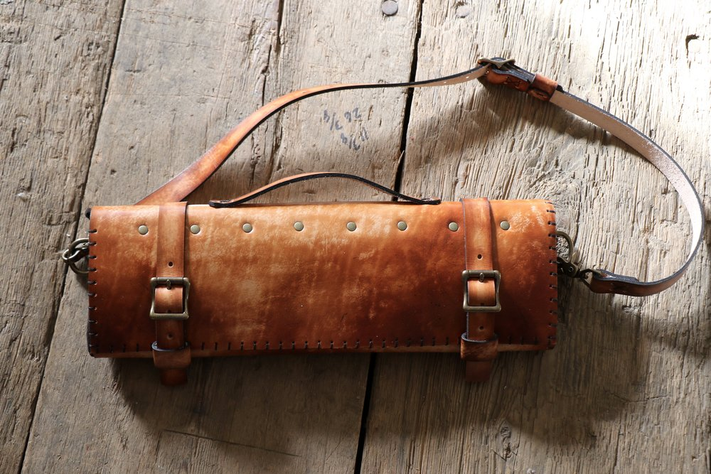 Natural Leather Chef's Knife Roll