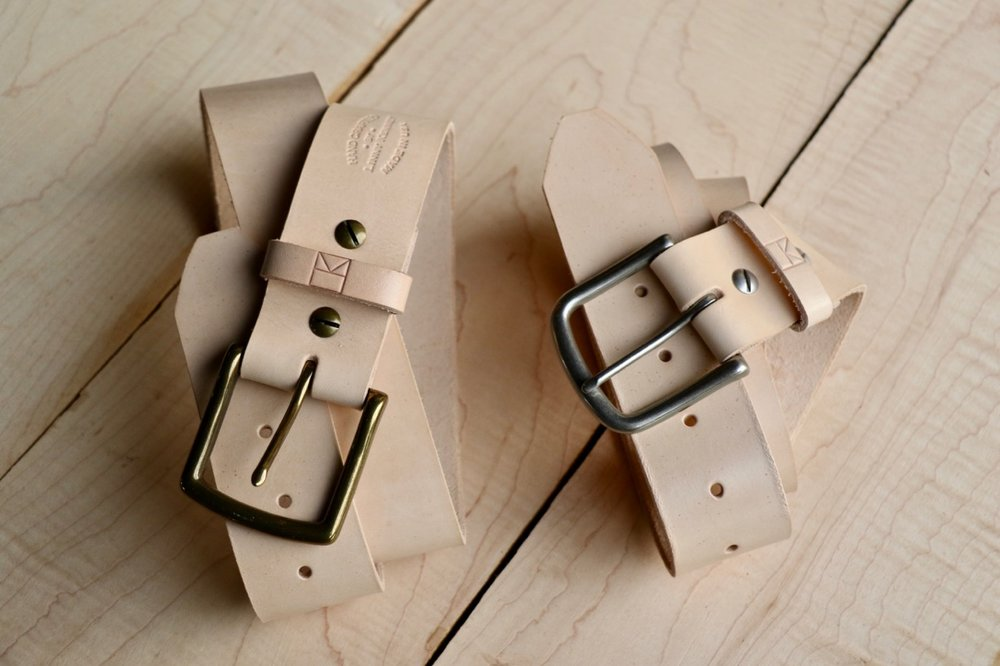 Natural leather full grain belts