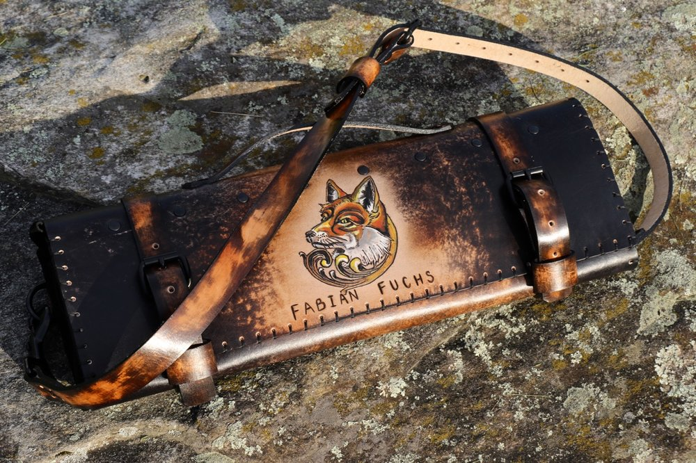 Dark Leather Knife Roll Fox Roll 3.jpg