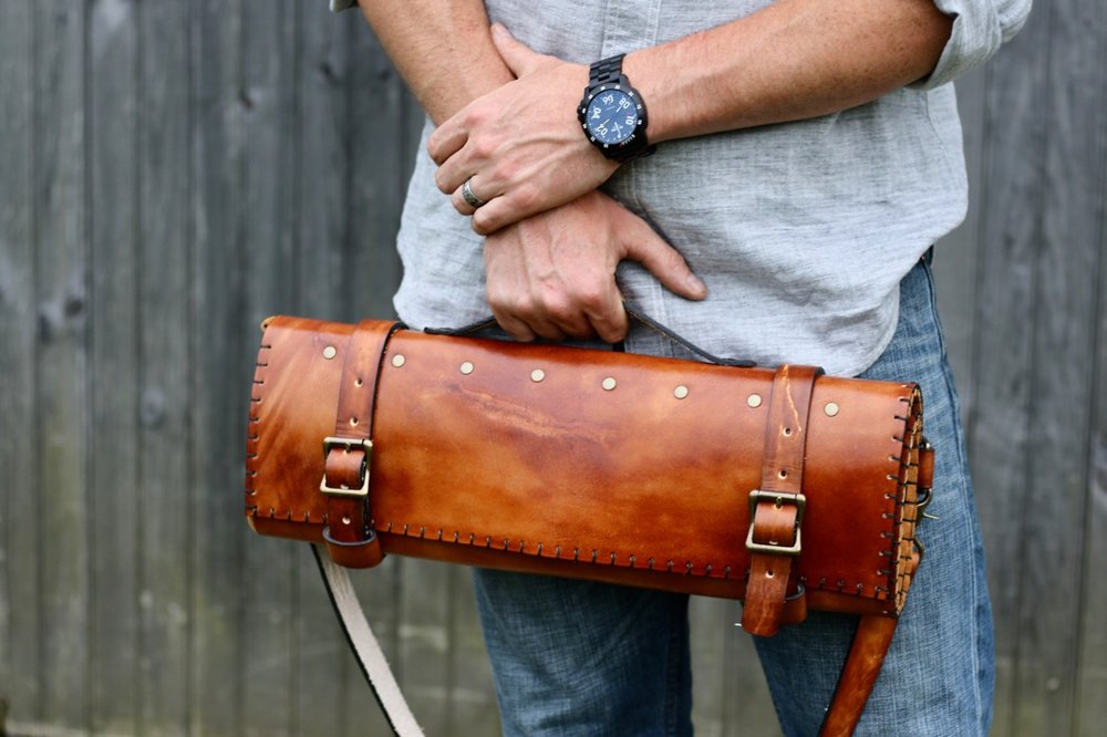 Brown Leather Knife Bag by Linny Kenney