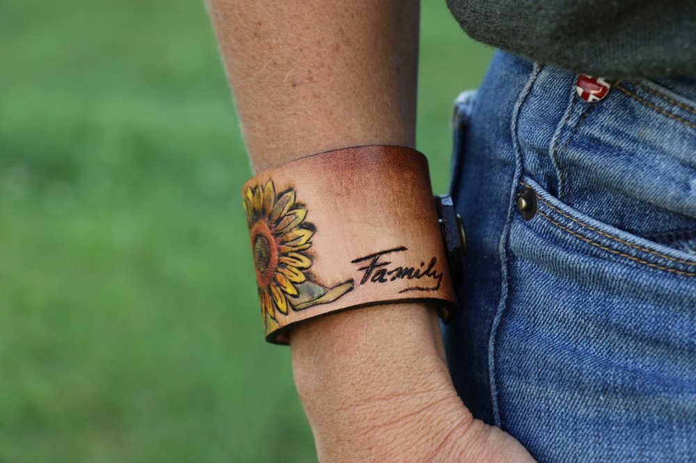 Sunflower Leather Cuff