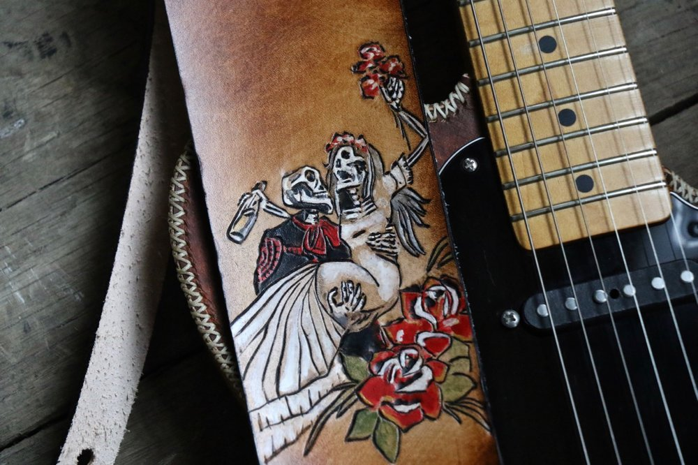 Day of the Dead custom leather guitar stra