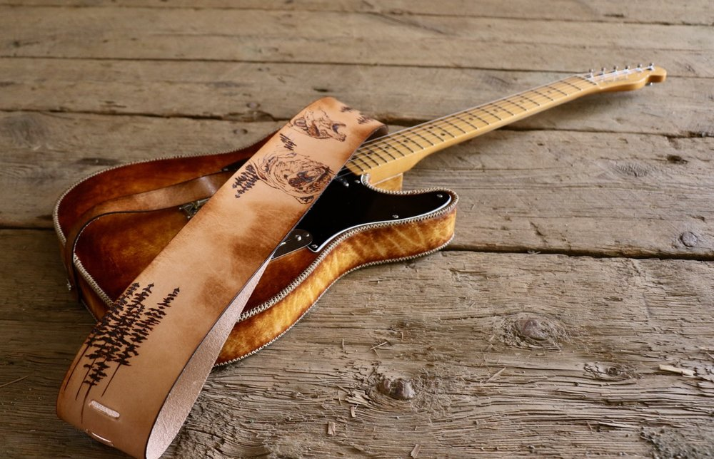 Grizzly and wolf custom guitar strap