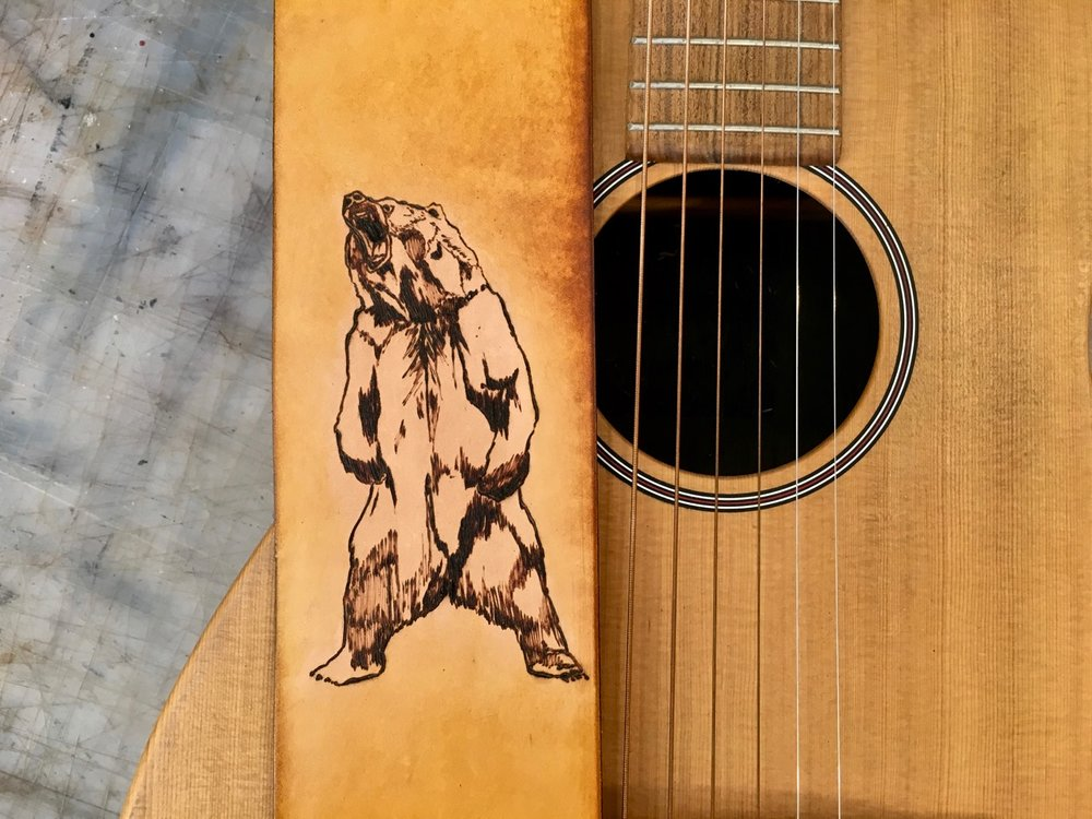 Growling Grizzly Bear Guitar Strap