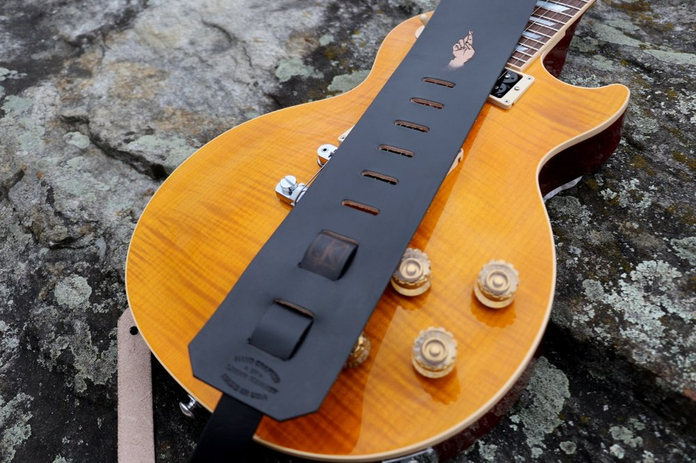 Natural leather guitar strap
