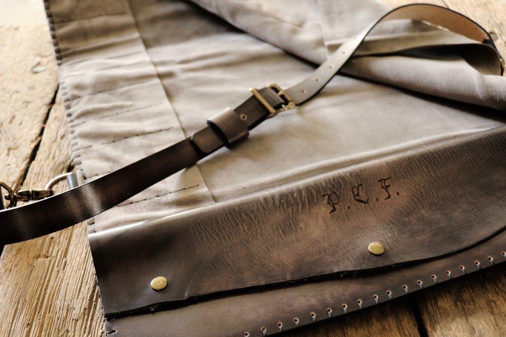Custom initials knife roll