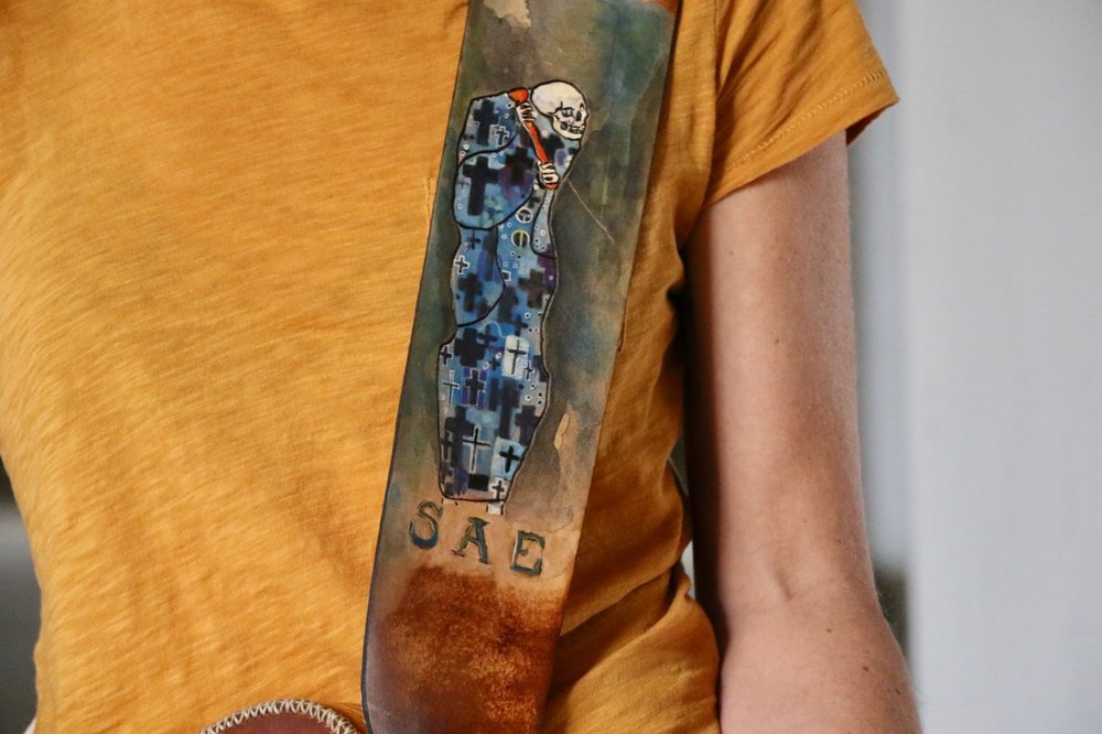 Death and Life Custom Leather Guitar Strap