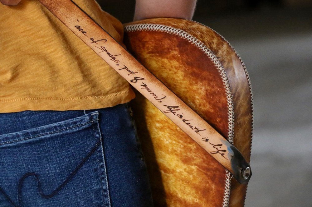 Life is death is life custom leather guitar strap