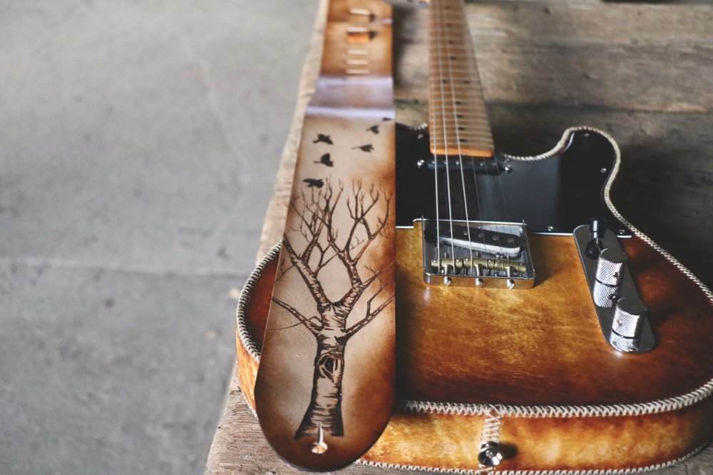 tree and birds guitar strap by Linny Kenney