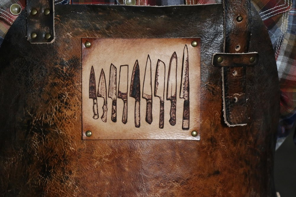 Knife Chef Apron  Leather apron for the chef by Linny Kenney