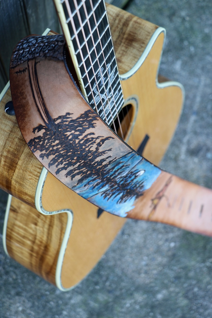 Tree and Mt Ascutney custom leather guitar strap 6.jpg