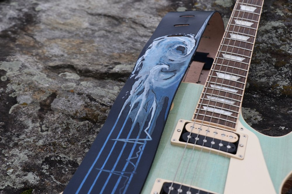 EKG and waves guitar strap