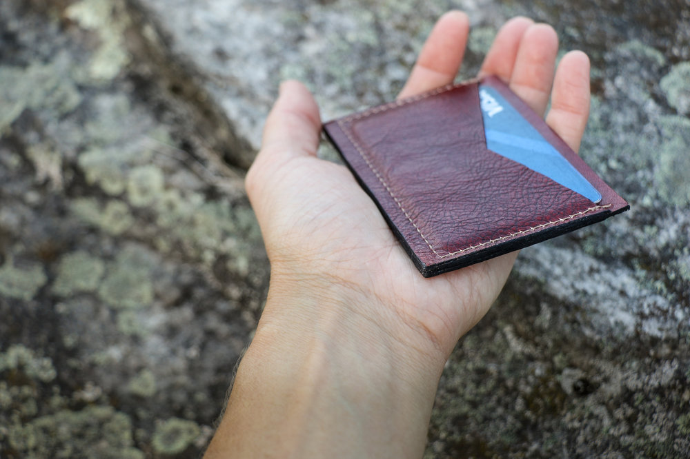 front pocket wallet mahogany leather