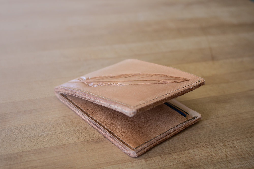Leather feather wallet