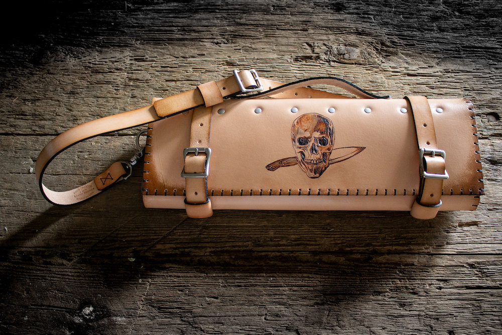 Skull Leather Knife Roll