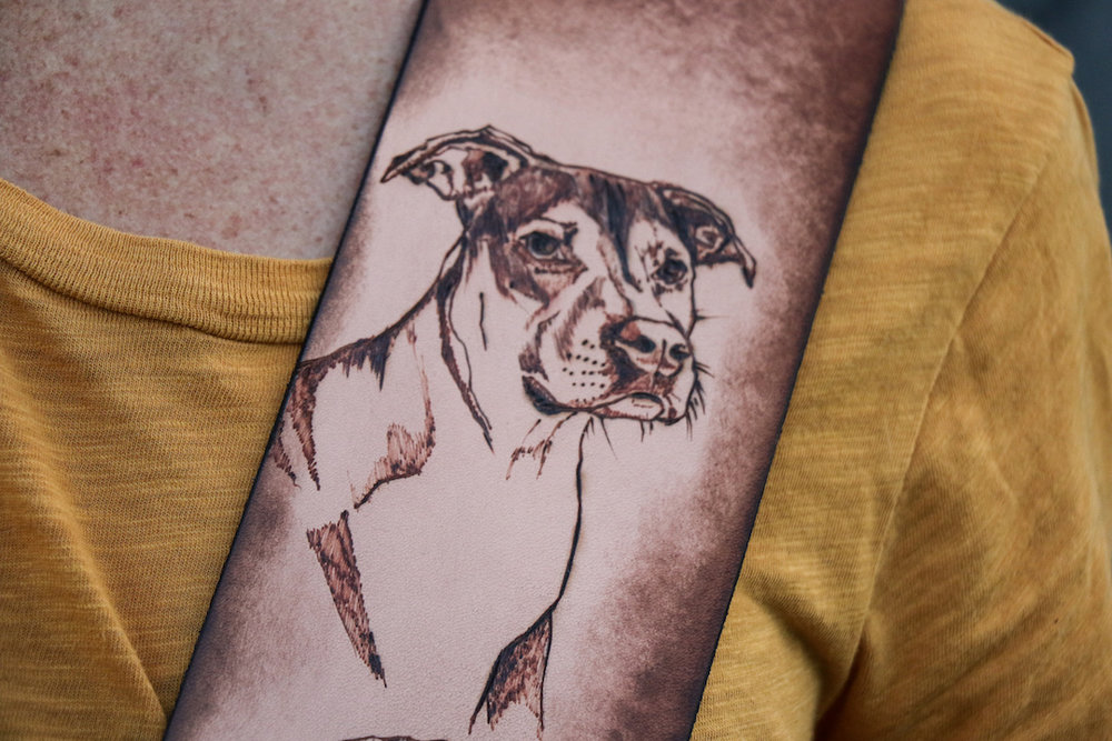 Custom dog portrait guitar strap
