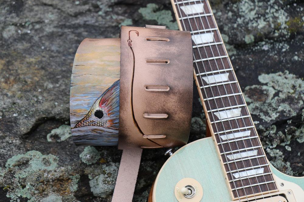 red drum fish tail custom guitar strap