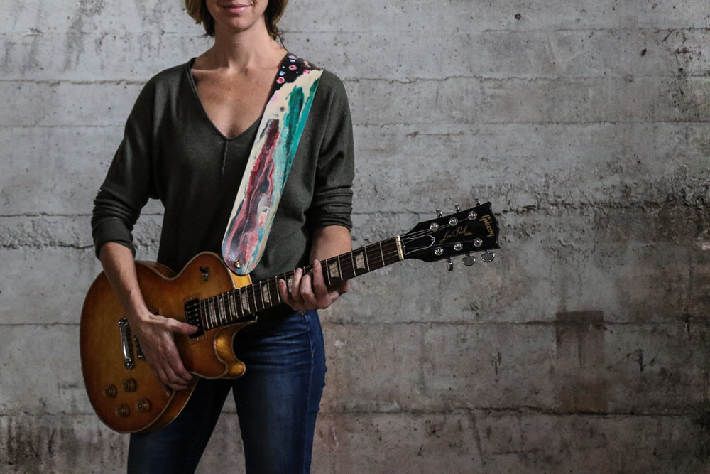 flower and watercolor guitar strap by Linny Kenney