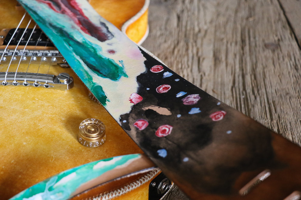 flower and watercolor guitar strap